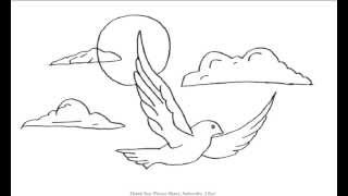 How to Draw a Bird Flying in the Clouds | YZArts