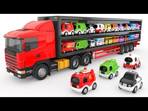 Thumbnail: Colors for Children to Learn with Truck Transporter Toy Street Vehicles - Educational Videos