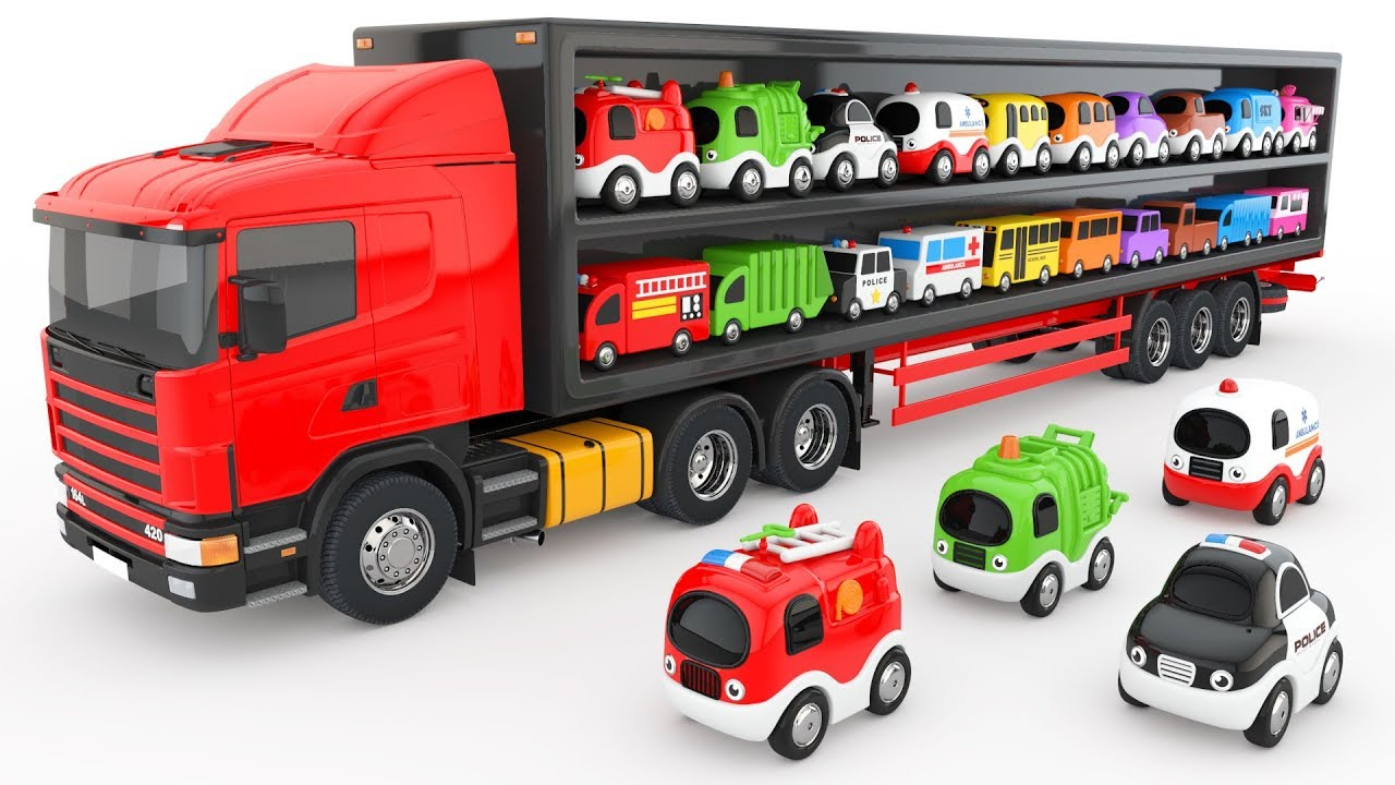 colors for children to learn with truck transporter toy street vehicles educational videos. Black Bedroom Furniture Sets. Home Design Ideas