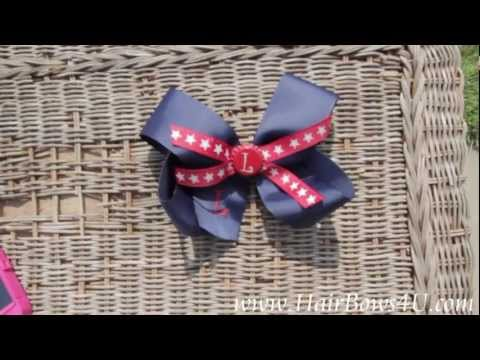 Engraved Bottle Cap Navy Star Patriotic Hair Bow - video demo