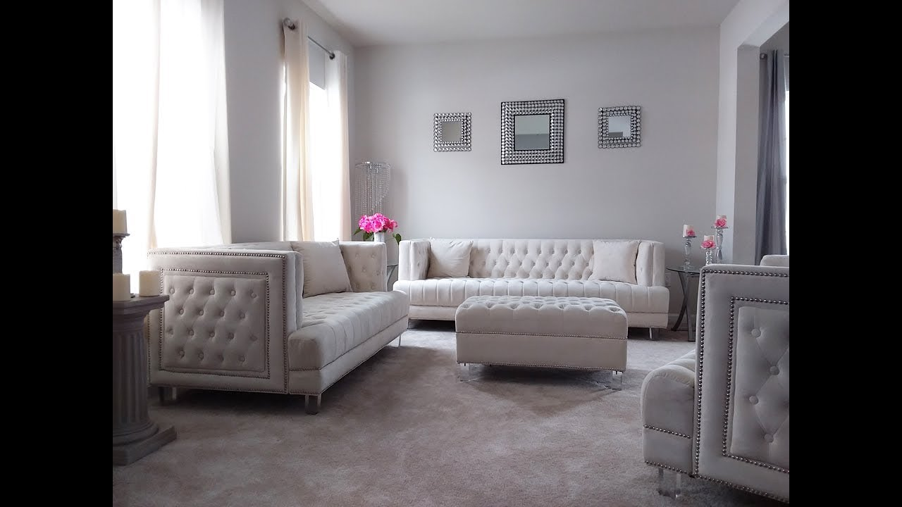 Glam Living Room Tour Home Decorating Ideas Glam Living Room Ideas Glam White Living Room Youtube