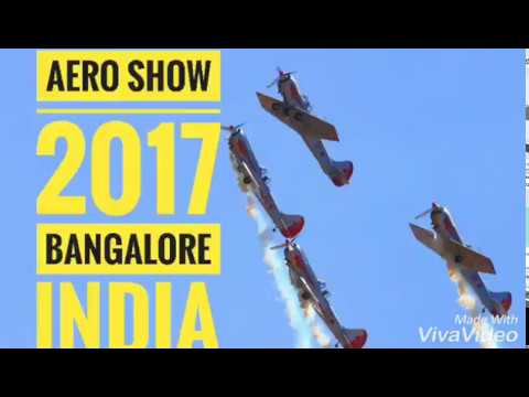 Aero show 2017 Bangalore India. Aeroplane stunts. Air Force, fighter jets, Helicopters