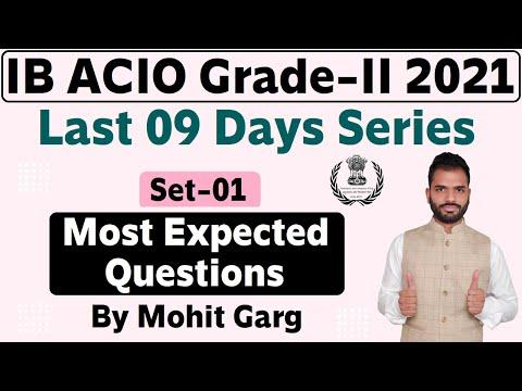 Most Expected Question Set - 01 For Intelligence Bureau ACIO-2 Exam 2021 || IB ACIO-2 Mock Test