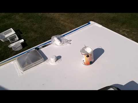 RV roof clean and reseal DIY