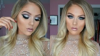 new years eve makeup tutorial   silver glitter smokey eye