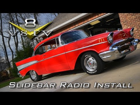 Custom Autosound Slidebar Radio Install 1957 Chevy Bel Air Video V8TV