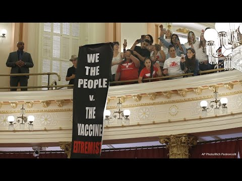 Anti-vaccine protesters react to new California law targeting vaccine exemptions