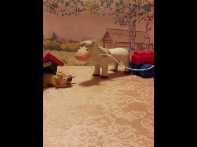 Изображение предпросмотра прочтения – Эмиль и РадмирМилюковы читает произведение «Собака и Лошадь» И.А.Крылова