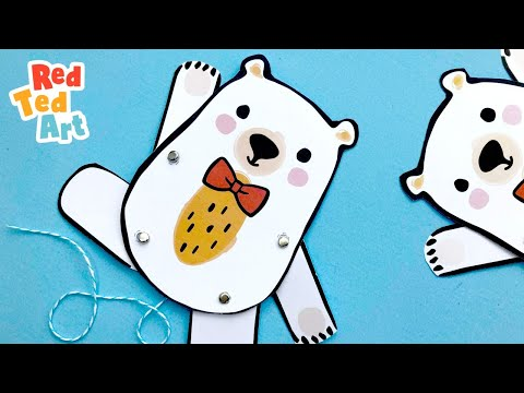 Red Ted Paper Puppet DIY - Fun & Easy Teddy Bear Puppet made from Paper
