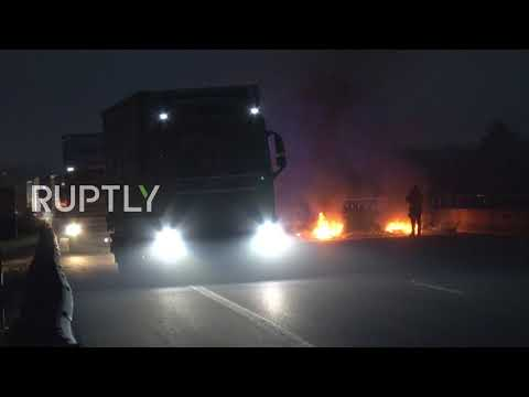 Spain: Motorway blocked with burning tires in Catalan separatist trial protest near Girona