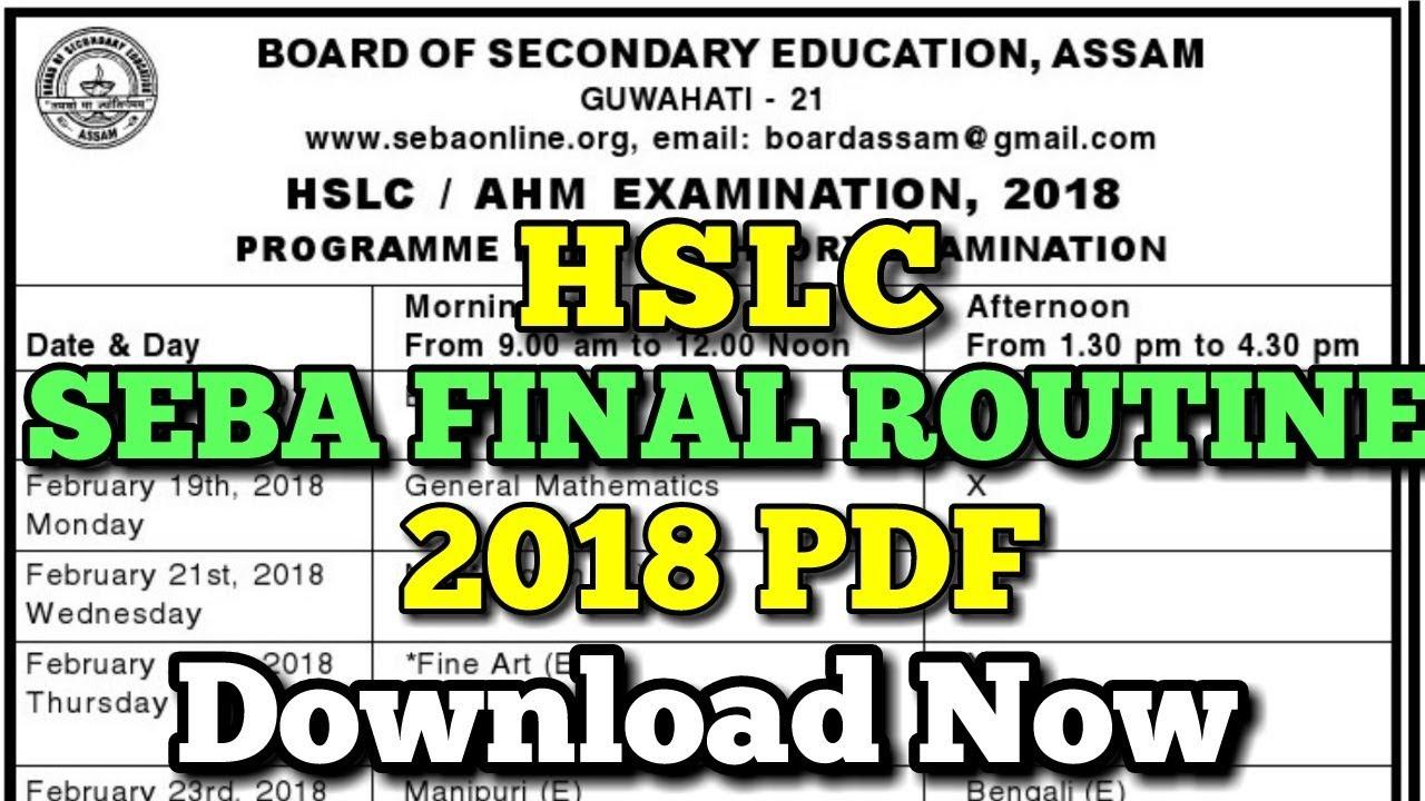 Assam Hslc Exam Routine Pdf