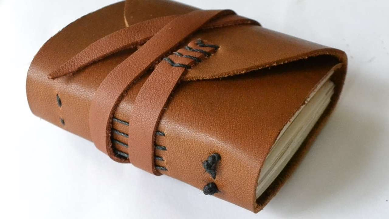 How To Make A Leather Book Cover ~ How to make a miniature recycled paper leather journal