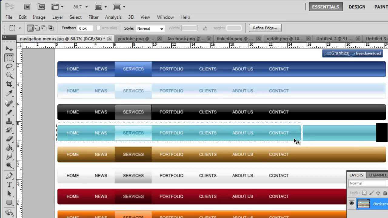 How to create web page layouts in photoshop cs5 youtube baditri Gallery