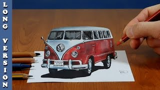 3D Trick Art on Paper, VW classic van, Long Version