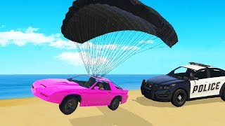 Jumping Over Cops With Parachute Car! (GTA RP)