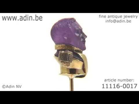 Victorian gold stickpin representing a Bonapartic general. (Adin reference: 111160017)