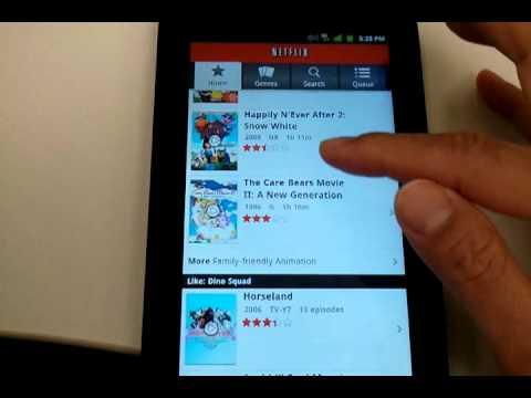 Netflix running on Android Samsung Galaxy Tab 7 inch