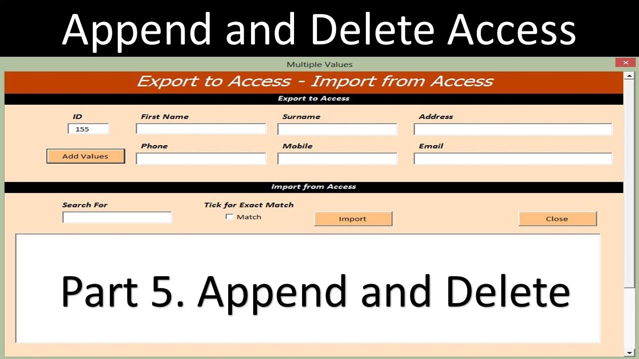 Append and Delete MS Access Record sets from an Excel