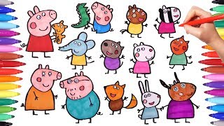 PEPPA PIG How to draw all Peppa pig Characters and friends | Drawing and Painting Peppa Pig