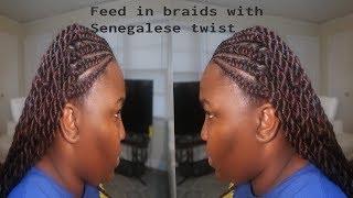 Feed in Braids with Senegalese Twist Tutorial on NATURAL Hair using EZ braid hair