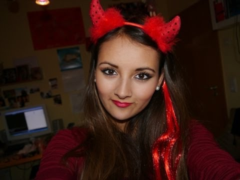 halloween makeup tutorial teufel devil last minute. Black Bedroom Furniture Sets. Home Design Ideas