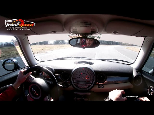 Moni has a coaching session in our Mini Cooper ,Serres Circuit, Track-speed.com