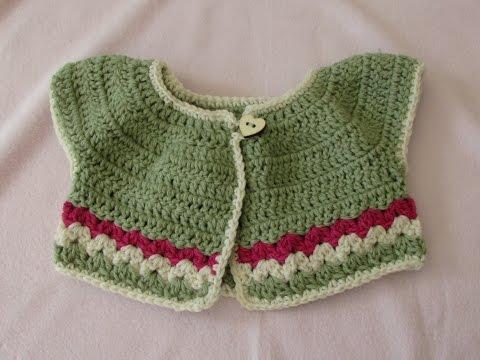VERY EASY Crochet Baby / Girl's Summer Bolero Tutorial - Crochet Cardigan (part 2)