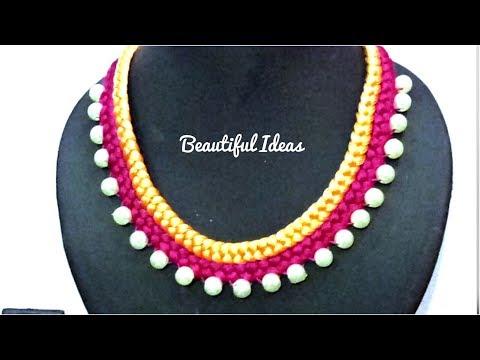 How to Make Silk thread Designer Pearl Necklace/Choker/Beautiful Ideas/DIY/Pearl Designer Necklace