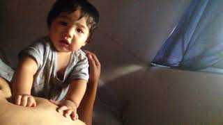 Funny baby and daddy moment