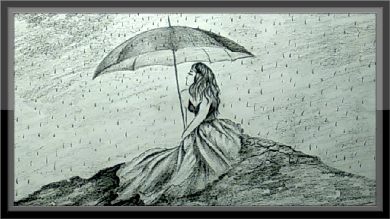 Pencil Sketches Of Girl In Rain