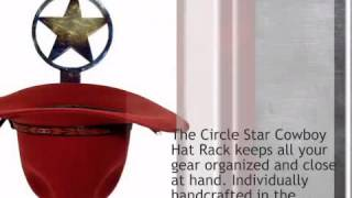 Circled Star Cowboy Hat Rack - Single - lonestarwesterndecor.com