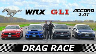 Mustang EcoBoost vs Subaru WRX vs Volkswagen GLI vs Honda Accord // DRAG & ROLL RACE