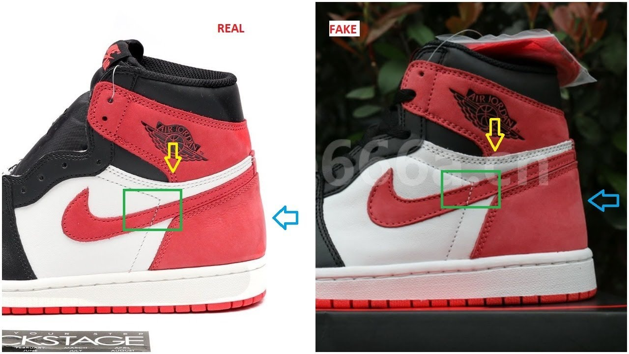 big sale 0bfaa 91f4c Fake Air Jordan 1 Track Red 6 Rings Spotted- Quick Ways To Identify Them