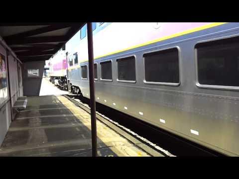 MBTA & Amtrak at Newtonville with MBTA MP36 engine 011
