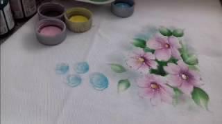 Pintura em Tecido – Aprenda pintar Flor do Campo – Folhas e Acabamento