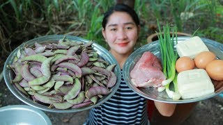 Tasty Purple Hyacinth Bean Cooking Tofu Soaked Egg - Cooking With Sros