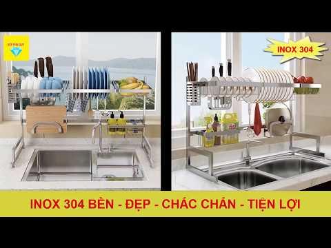 Đập Hộp - Kệ giá để đồ trên chậu rửa bát Inox 304 (Bản Chuẩn)