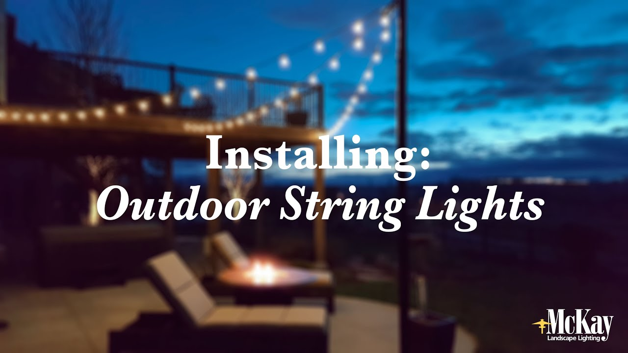 Installing outdoor string lights youtube for How to hang string lights on trees