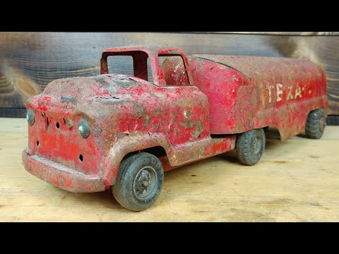 Rusty 1950's Buddy L GMC COE Texaco Tanker Restoration - Видео онлайн