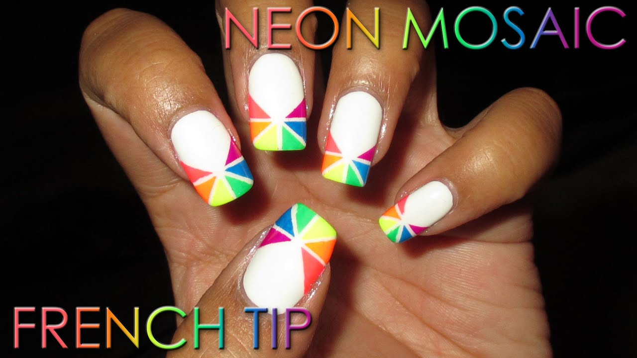 Neon Mosaic French Tip | DIY Nail Art Tutorial - YouTube