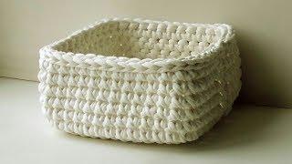 Корзинка крючком из трикотажной пряжи. Урок 9 // knitting - crochet