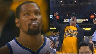 Kevin Durant Brings The Warriors Crowd To Their Feet With 3 Pointer After Shutting Down Pau Gasol