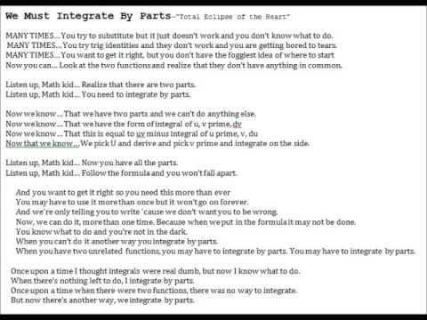 Integrate by parts song to Total Eclipse of the Heart