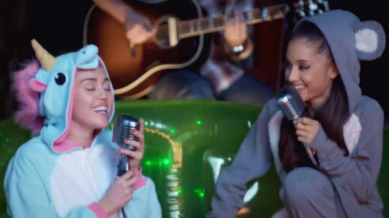 Miley Cyrus Ariana Grande Don T Dream It S Over Collaboration Video Youtube
