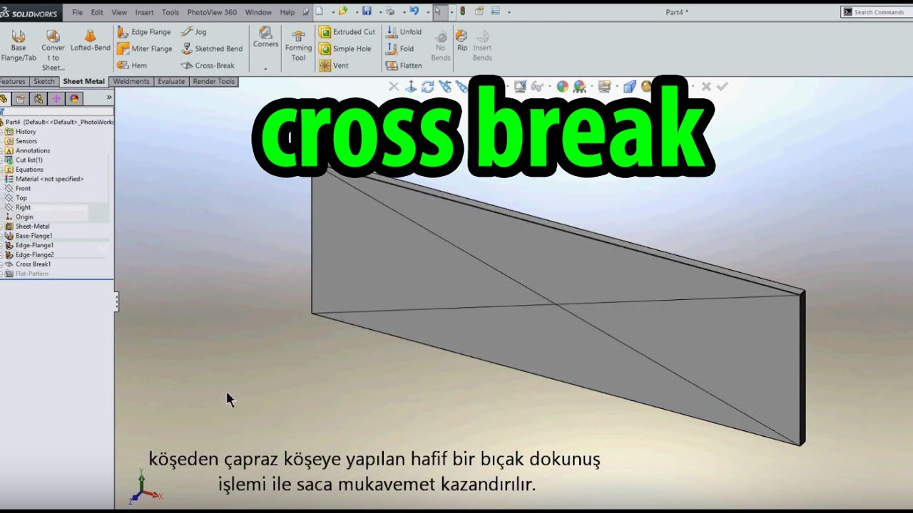 Solidworks Cross Break 199 Apraz Kopar Komutu Youtube