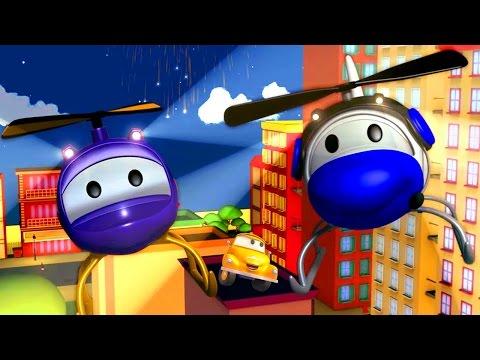 Çekici Tom ve Helikopter Hector Araba Şehri'nde   Araba ve Kamyon inşaat çizgi filmi çocuklar için