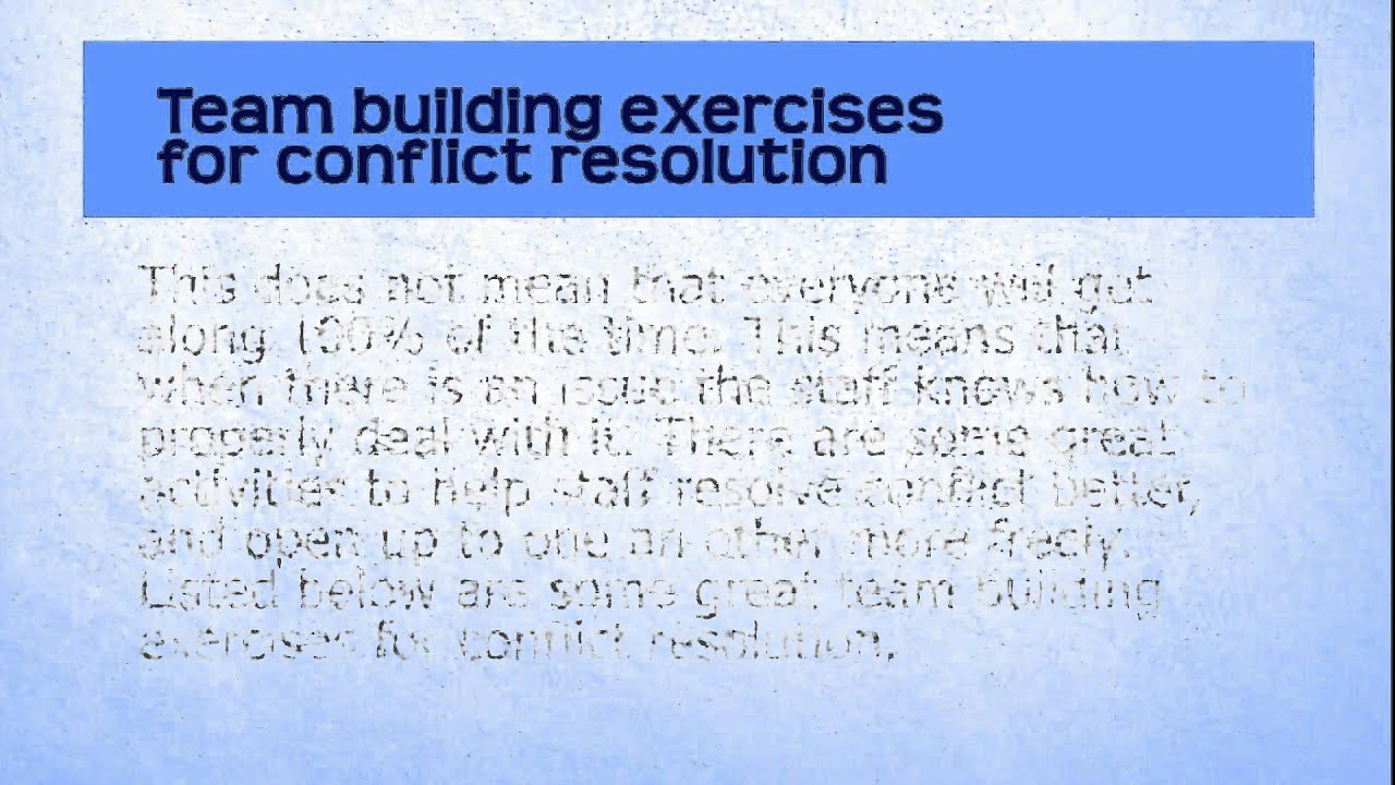 conflict management and resolution for teams Resolving conflicts on the team or communicating by e-mail cannot replace the person-to-person conversation that's required for conflict resolution to work.