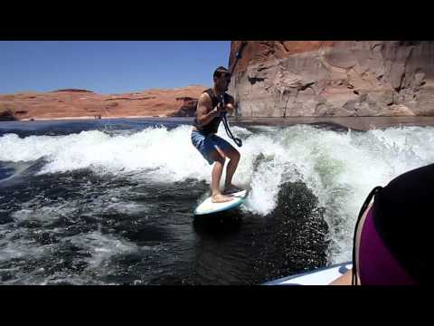 Doug Wakesurfing for the first time