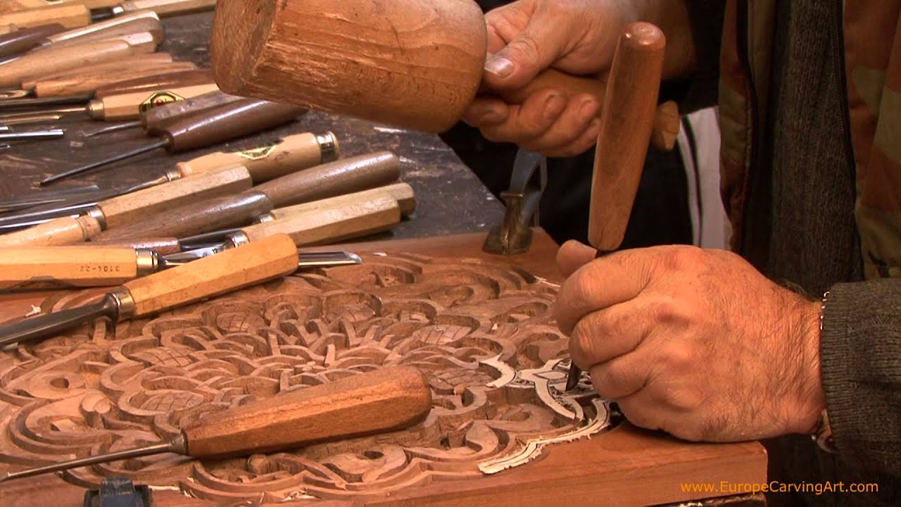 The process of wood hand carving the arabesque youtube
