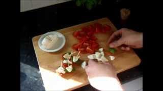 Insalata Caprese Canapes Tomato Mozzarella & Basil Hors D'oeuvre Appetizers Recipe